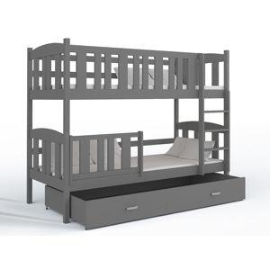 ArtAJ Detská poschodová posteľ Kubuš   190 x 80 cm Farba: biela / sivá, s matracom, MDF