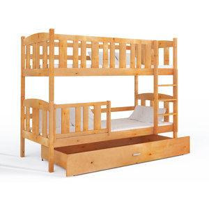 ArtAJ Detská poschodová posteľ Kubuš   190 x 80 cm Farba: Jelša, s matracom, drevo