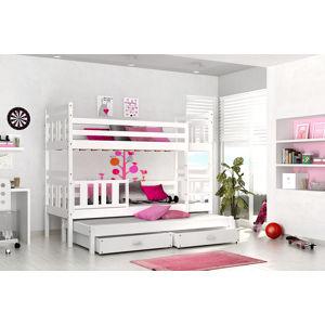 ArtAJ Detská poschodová postel 3-os Nemo Farba: Biela, Prevedenie: bez matraca