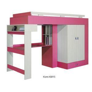 Detská izba Komi A ružová Komi: Posteľ KM15 ružová / š. 242,5 x v. 166 x h. 95 cm