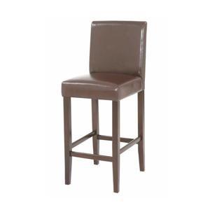 TEMPO KONDELA Barová stolička, tmavohnedá ekokoža/tmavý orech, MONA NEW