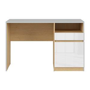 BRW Písací stôl: NANDU - BIU1D1S Farba: svetlosivá/ dub poľský/ biely lesk