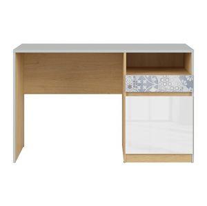 BRW Písací stôl: NANDU - BIU1D1S Farba: svetlosivá/ dub poľský/ biely lesk/ arabesk