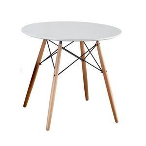 TEMPO KONDELA Jedálenský stôl,  biela/buk, GAMIN 80