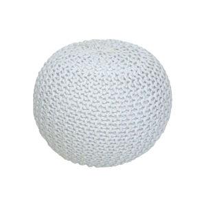 TEMPO KONDELA Pletený taburet, smotanová (biely melír) bavlna, GOBI TYP 2