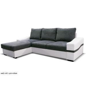 Tempo Kondela Rohová sedacia súprava OREGON OREGON: Rohová sedacia súprava OREGON / malý roh L / ekokoža biela bronco 800 / sivá savana 5 /  245 x 160 x 86 cm