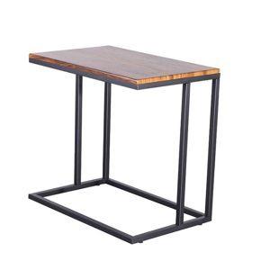 TEMPO KONDELA Príručný stolík, orech/čierna, EZEL