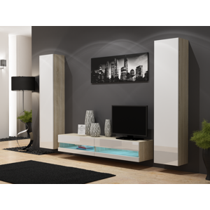Artcam Obývacia stena Vigo NEW 4 dub sonoma/biely lesk
