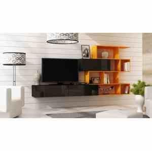 Artcam Obývacia stena Vigo 16 čierna / oranžová