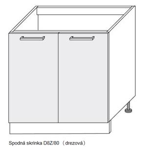 Kuchynská linka GOLD LUX Kuchyňa: Spodná skrinka Gold Lux - drezová D8Z/80 / (ŠxVxH) 80 x 82 x 50 cm
