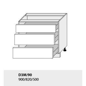 ArtExt Kuchynská linka TITANIUM Kuchyňa: Spodná skrinka Titanium D3M/90 / (ŠxVxH) 90 x 82 x 50 cm