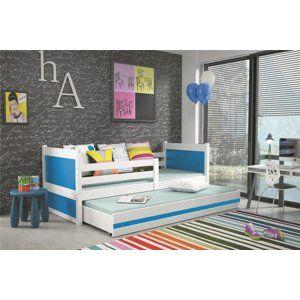 BMS Detská posteľ RICO 2 / BIELA 190x80 Farba: Modrá