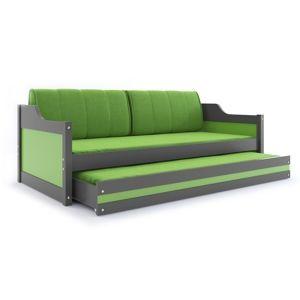 BMS Detská posteľ DAWID / SIVÁ 200x90 Farba: Zelená