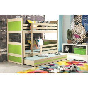 BMS Detská poschodová posteľ s prístelkou RICO 3 / BOROVICA 160x80 cm Farba: Zelená - do vypredania zásob