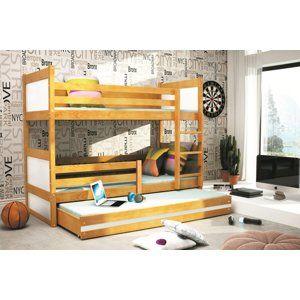 BMS Detská poschodová posteľ s prístelkou RICO 3 / JELŠA 160x80 cm Farba: Biela