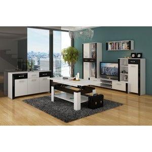 WIP Obývacia stena HUGO 1 Farba: Biela / čierny lesk