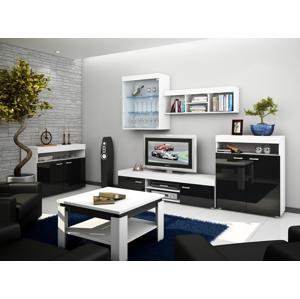 WIP Obývacia stena MAX Farba: Biela / čierny lesk