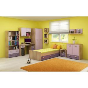 WIP Detská izba KITTY 2 Farba: Dub sonoma svetlá / levanduľa / fialová