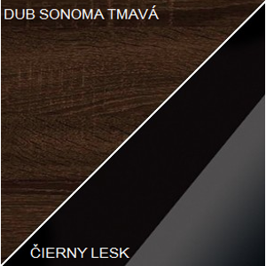 WIP Konferenčný stolík DALLAS Farba: DUb sonoma tmavá / čierny lesk