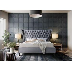 TEMPO KONDELA Manželská posteľ, sivá/wenge, 180x200, ALESIA