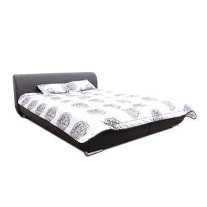 TEMPO KONDELA Manželská posteľ, čierna/tmavosivá/vzor, 160x200, MEO