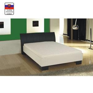 TEMPO KONDELA Manželská posteľ, ekokoža čierna/biele lamino, 160x200, TALIA