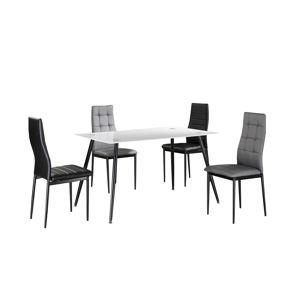 TEMPO KONDELA Jedálenský stôl, biele sklo/čierny kov, ADMER