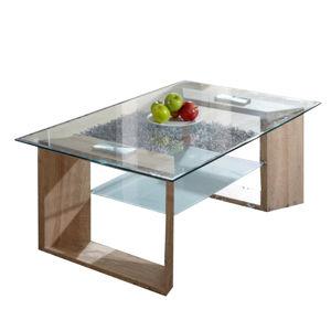 TEMPO KONDELA Konferenčný stolík, dub + sklo, VLASTA