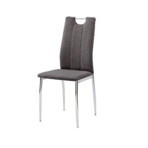 TEMPO KONDELA Jedálenská stolička, hnedosivá látka/chróm, OLIVA NEW