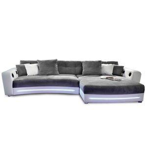 TEMPO KONDELA Rohová sedacia súprava s elektronickými doplnkami, eko biela /látka sivá , LUXLAREDO