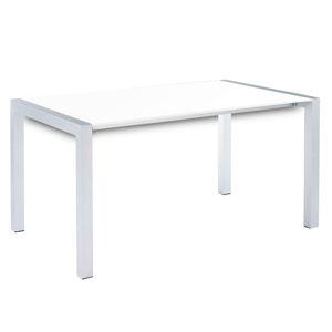 TEMPO KONDELA Jedálenský stôl, rozkladací, MDF/kov, biela extra vysoký lesk HG/strieborná, DARO