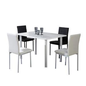 TEMPO KONDELA Jedálenský stôl, biela extra vysoký lesk, UNITA