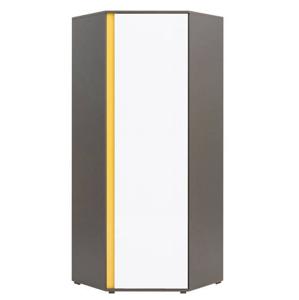 BRW Rohová šatníková skriňa Graphic SZFN1D Farba: sivý wolfram / biely lesk