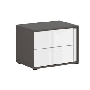 BRW Nočný stolík Graphic KOM2SL/C Farba: sivý wolfram / biely zrkadlový lesk