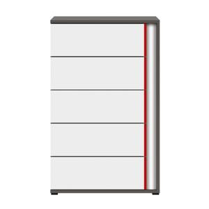 BRW Komoda Graphic KOM5SL/C Farba: sivý wolfram / biely / červený