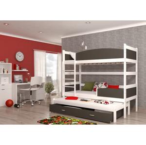 ArtAJ Detská poschodová posteľ Twist 3 / biela Farba: biela / sivá