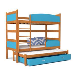 ArtAJ Detská poschodová posteľ Twist 3 / jelša Farba: jelša / modrá, Prevedenie: bez matraca