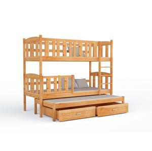 ArtAJ Detská poschodová posteľ Kubuš 3 | 190 x 80 cm Farba: borovica s matracom, drevo