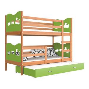 ArtAJ Detská poschodová posteľ Max 3 drevo / MDF 200 x 90 cm Farba: jelša / zelená 200 x 90 cm