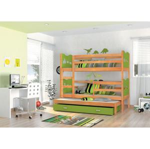 ArtAJ Detská poschodová posteľ Max 3 / jelša Farba: Modrá, Prevedenie: motýľ