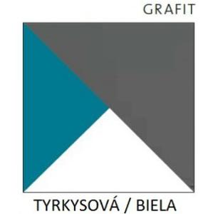 Dolmar  Rohová šatníková skriňa Futuro F7 Farba: biela / grafit / tyrkysová