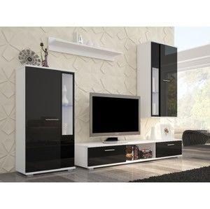 ArtAdr Obývacia stena Safir Farba: Biela / čierny lesk