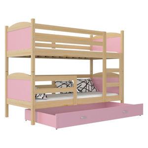 ArtAJ Detská poschodová posteľ Mateusz drevo / MDF 190 x 80 cm Farba: Borovica / ružová 190 x 80