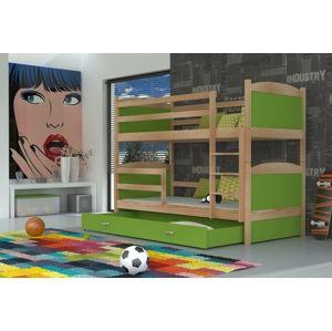ArtAJ Detská poschodová posteľ Mateusz drevo / MDF 160 x 80 cm Farba: Borovica / zelená 160 x 80 cm