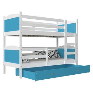 ArtAJ Detská poschodová posteľ Mateusz MDF / 190 x 80 cm Farba: biela / modrá 190 x 80 cm