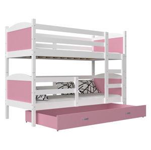 ArtAJ Detská poschodová posteľ Mateusz MDF / 190 x 80 cm Farba: biela / ružová 190 x 80 cm
