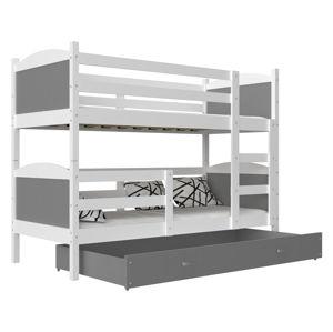 ArtAJ Detská poschodová posteľ Mateusz MDF / 190 x 80 cm Farba: biela / sivá 190 x 80 cm