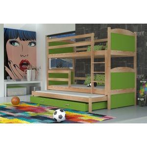 ArtAJ Detská poschodová posteľ Mateusz 3 drevo / MDF 190 x 80 cm Farba: Borovica / zelená 190 x 80 cm