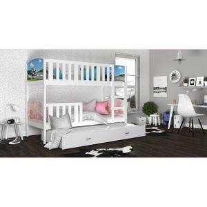 ArtAJ Detská poschodová posteľ Tami 3 / biela Tami rozmer: 190 x 80 cm + prístelka 184 x 80 cm