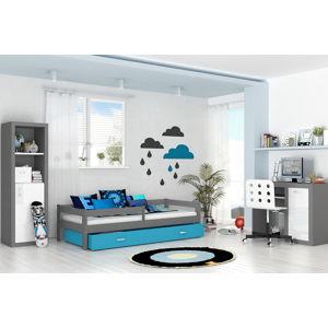ArtAJ Detská posteľ Hugo 160 x 80 / MDF Farba: sivá/modrá, Prevedenie: bez matraca